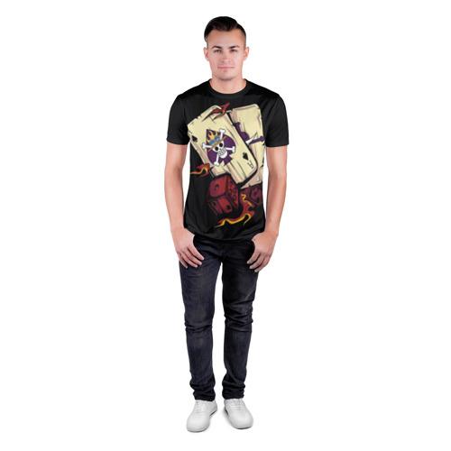 Мужская футболка 3D спортивная с принтом Большой куш карты, вид сбоку #3