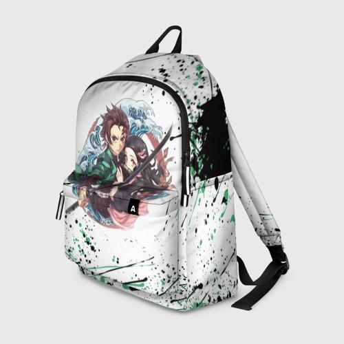 Рюкзак 3D с принтом Брызги красок Demon Slayer, вид спереди #2