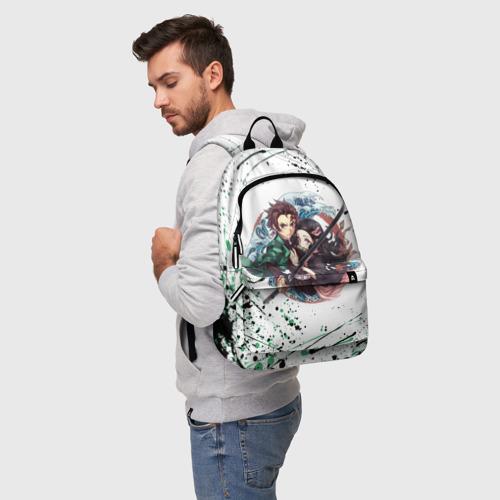 Рюкзак 3D с принтом Брызги красок Demon Slayer, фото на моделе #1