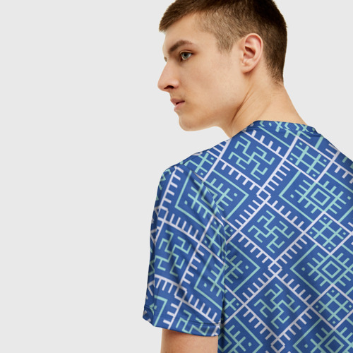 Мужская 3D футболка с принтом Славянский орнамент, вид сзади #2
