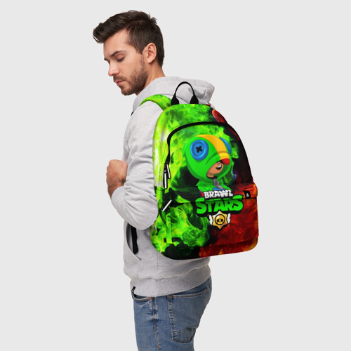 Рюкзак 3D с принтом BRAWL STARS LEON   ЛЕОН, фото на моделе #1