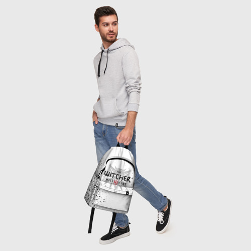 Рюкзак 3D с принтом ВЕДЬМАК ВОЛК БРЫЗГИ КРАСОК / THE WITCHER, фото #5