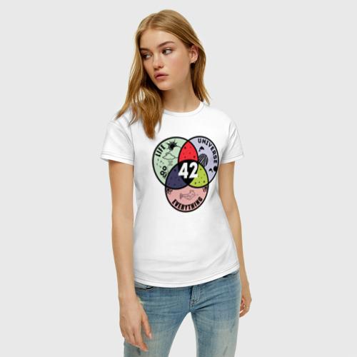 Женская футболка с принтом Life Universe Everything, фото на моделе #1