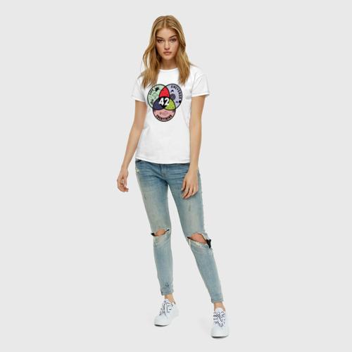 Женская футболка с принтом Life Universe Everything, вид сбоку #3