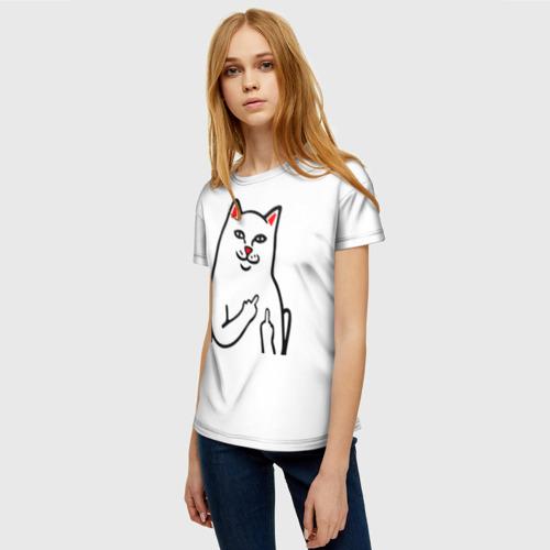 Женская 3D футболка с принтом Meme Cat, фото на моделе #1