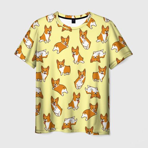 Мужская 3D футболка с принтом Корги, вид спереди #2