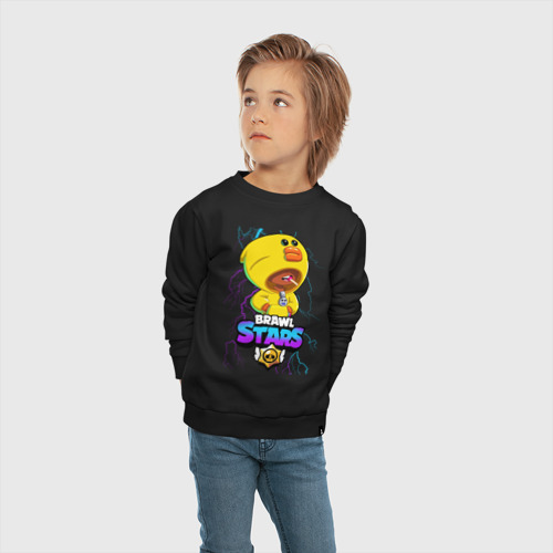 Детский свитшот хлопок с принтом Brawl Stars SALLY LEON, вид сбоку #3