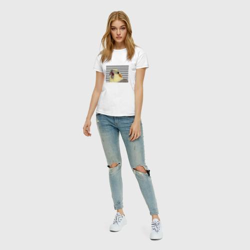 Женская футболка с принтом Орущий попугай, вид сбоку #3