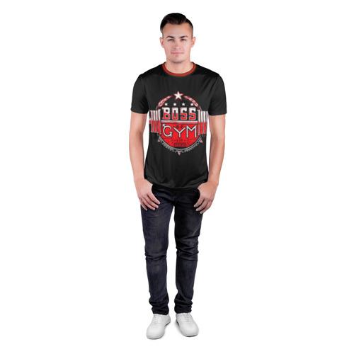 Мужская футболка 3D спортивная с принтом Boss of GYM (акварель), вид сбоку #3