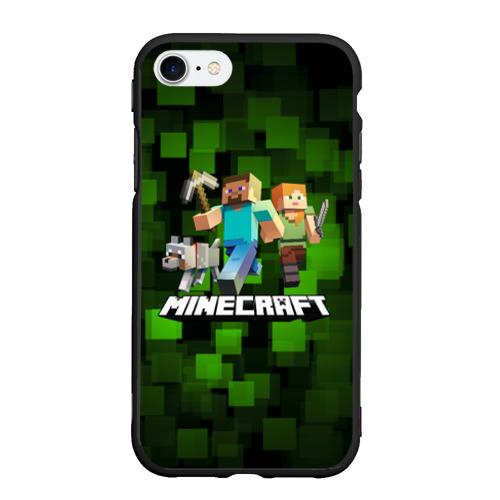 Чехол для iPhone 7/8 матовый с принтом Minecraft / Майнкрафт, вид спереди #2