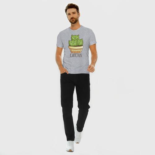 Мужская футболка премиум с принтом Кактус Котики, вид сбоку #3