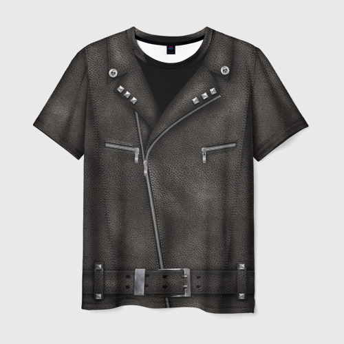 Мужская 3D футболка с принтом Косуха Байкерская, вид спереди #2