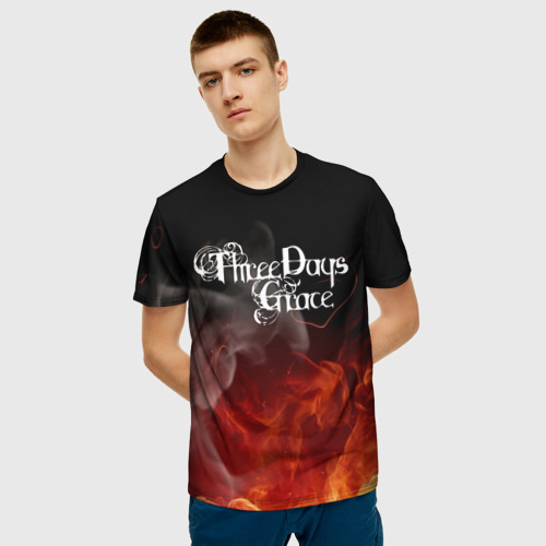 Мужская 3D футболка с принтом Three Days Grace, фото на моделе #1