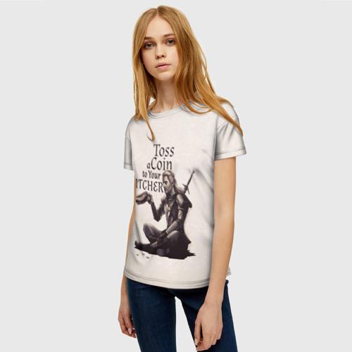 Женская 3D футболка с принтом Toss a coin to your Witcher, фото на моделе #1