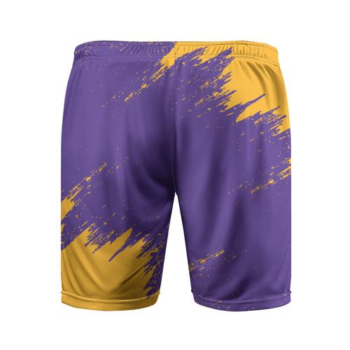 Мужские шорты 3D спортивные с принтом LA LAKERS, вид сзади #1