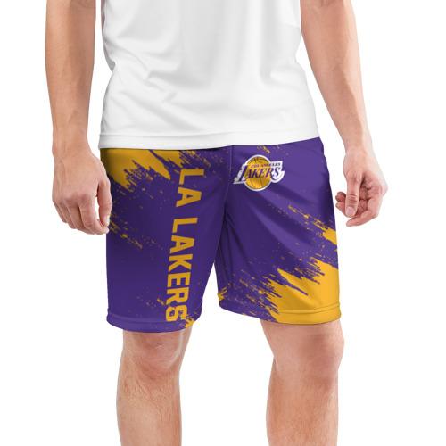 Мужские шорты 3D спортивные с принтом LA LAKERS, фото на моделе #1