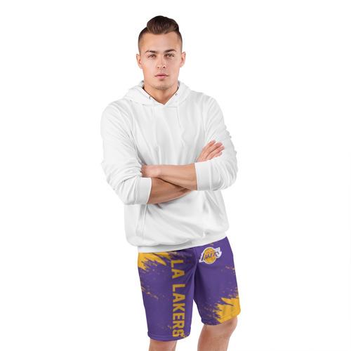 Мужские шорты 3D спортивные с принтом LA LAKERS, фото #4