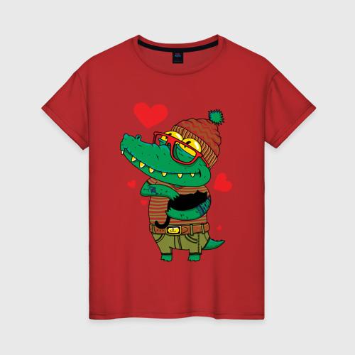 Женская футболка Модный крокодил