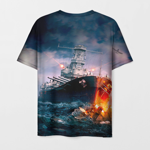 Мужская 3D футболка с принтом ВМФ, вид сзади #1