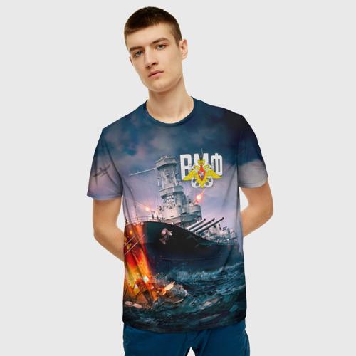 Мужская 3D футболка с принтом ВМФ, фото на моделе #1