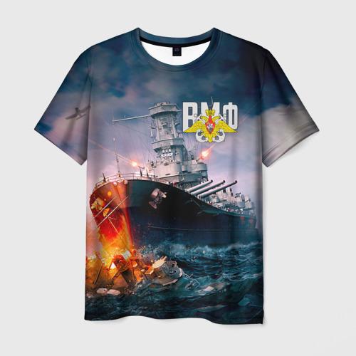 Мужская 3D футболка с принтом ВМФ, вид спереди #2