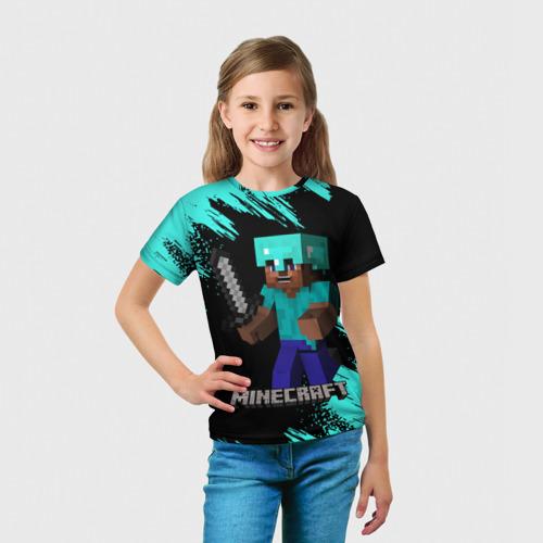 Детская 3D футболка с принтом MINECRAFT, вид сбоку #3