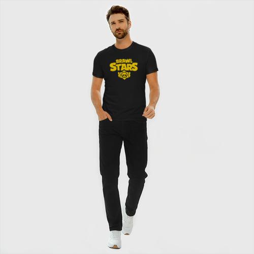 Мужская футболка премиум с принтом Brawl Stars GOLD, вид сбоку #3