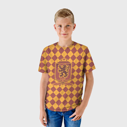 Детская 3D футболка с принтом Coat of Gryffiindor, фото на моделе #1
