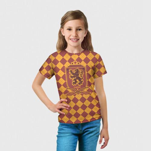 Детская 3D футболка с принтом Coat of Gryffiindor, вид сбоку #3