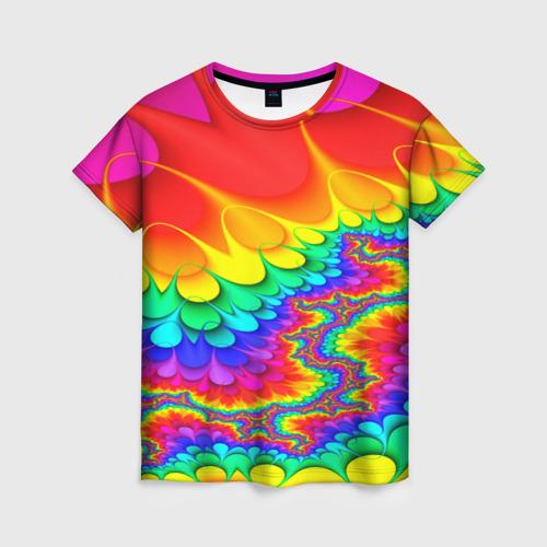 Женская 3D футболка с принтом TIE-DYE, вид спереди #2