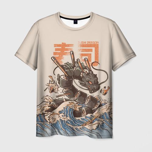 Мужская 3D футболка Sushi dragon