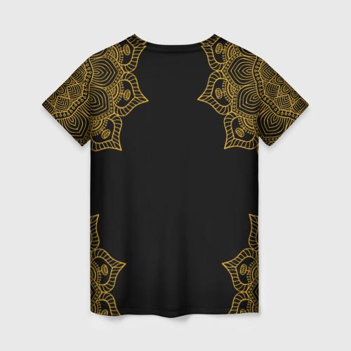 Женская 3D футболка с принтом Golden dragonfly, вид сзади #1