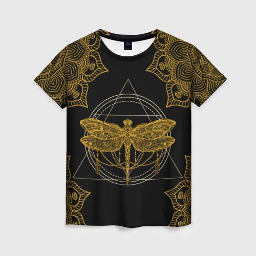 Женская 3D футболка с принтом Golden dragonfly, вид спереди #2