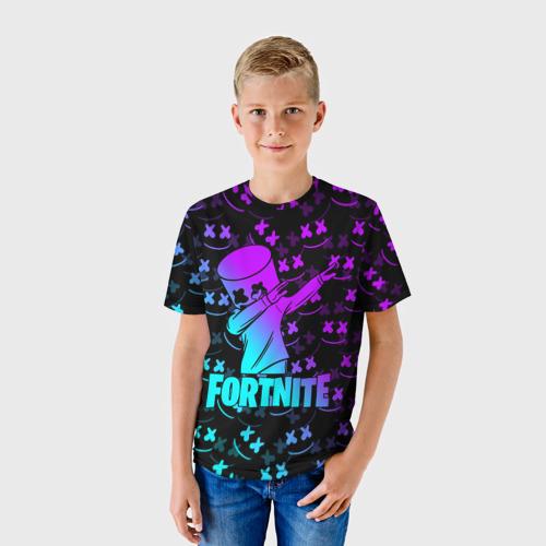 Детская 3D футболка с принтом FORTNITE X MARSHMELLO / ФОРТНАЙТ, фото на моделе #1