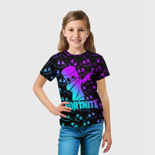 Детская 3D футболка с принтом FORTNITE X MARSHMELLO / ФОРТНАЙТ, вид сбоку #3