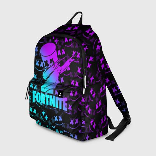Рюкзак 3D с принтом FORTNITE X MARSHMELLO / ФОРТНАЙТ, вид спереди #2