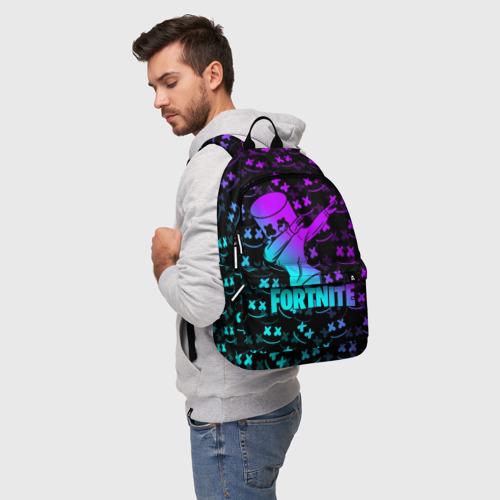 Рюкзак 3D с принтом FORTNITE X MARSHMELLO / ФОРТНАЙТ, фото на моделе #1