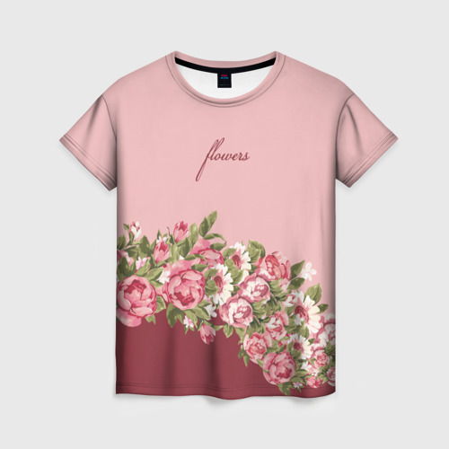 Женская 3D футболка Flowers