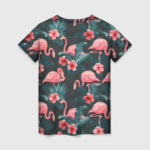 Женская 3D футболка с принтом Flamingo, вид сзади #1
