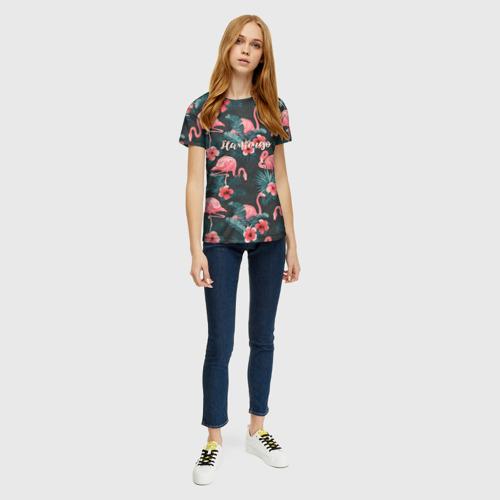 Женская 3D футболка с принтом Flamingo, вид сбоку #3