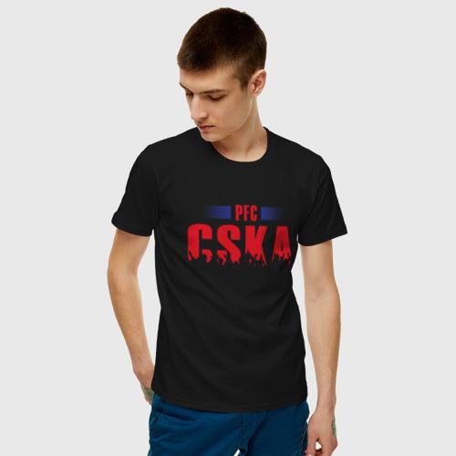 Мужская футболка с принтом ЦСКА Москва, фото на моделе #1