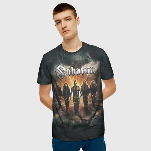 Мужская 3D футболка с принтом Sabaton Band, фото на моделе #1