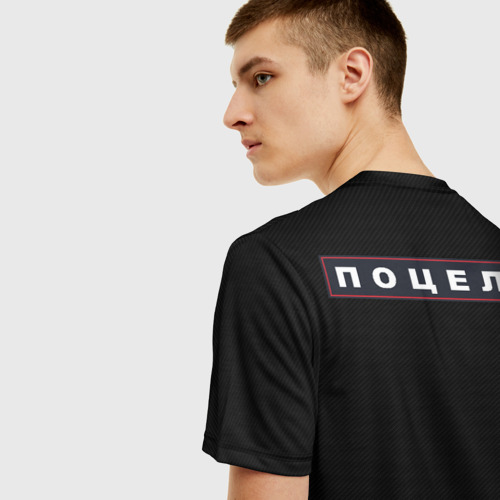 Мужская 3D футболка с принтом Поцелуи (нашивка на спине), вид сзади #2