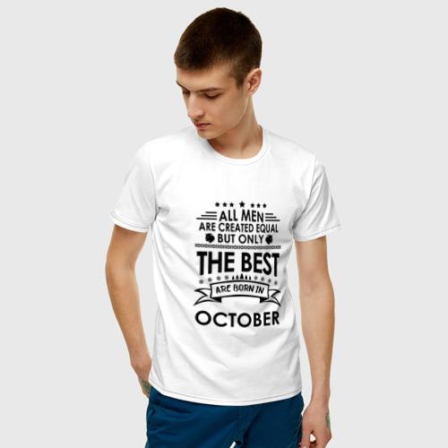 Мужская футболка с принтом Лучшие рождаются в октябре, фото на моделе #1