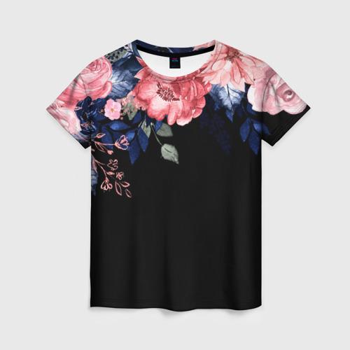 Женская 3D футболка Цветы на черном