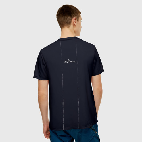 Мужская 3D футболка с принтом Deftones Rose, вид сзади #2