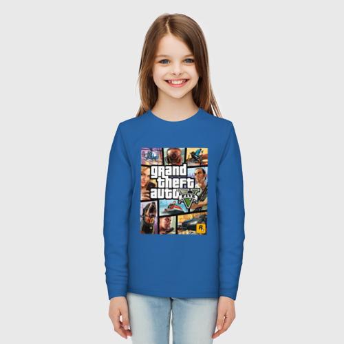 Детский хлопковый лонгслив с принтом GTA5, вид сбоку #3