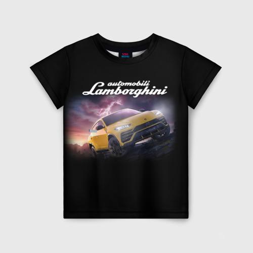 Детская 3D футболка с принтом Lamborghini Urus   Ламба Урус, вид спереди #2