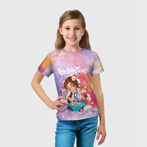 Детская 3D футболка с принтом Энчантималс, вид сбоку #3