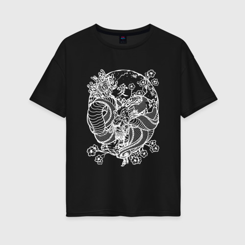 Женская футболка oversize ДРАКОН НА САКУРЕ | DRAGON ON SAKURA
